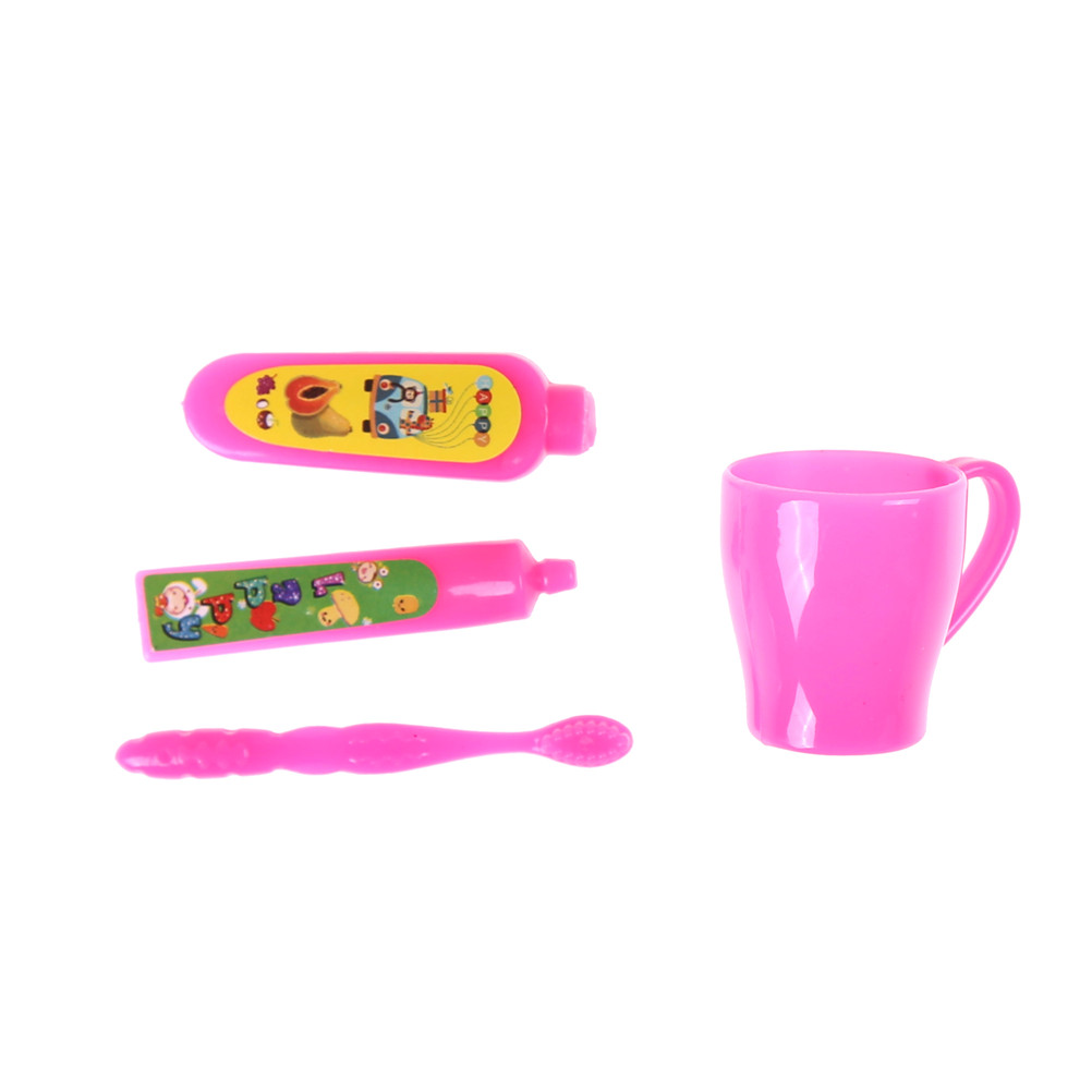 1 Set=4pcs dollhouse Toothpaste Tube Toothbrush Bathroom For Dolls Accessories Little Girls Gifts Play House Toys image
