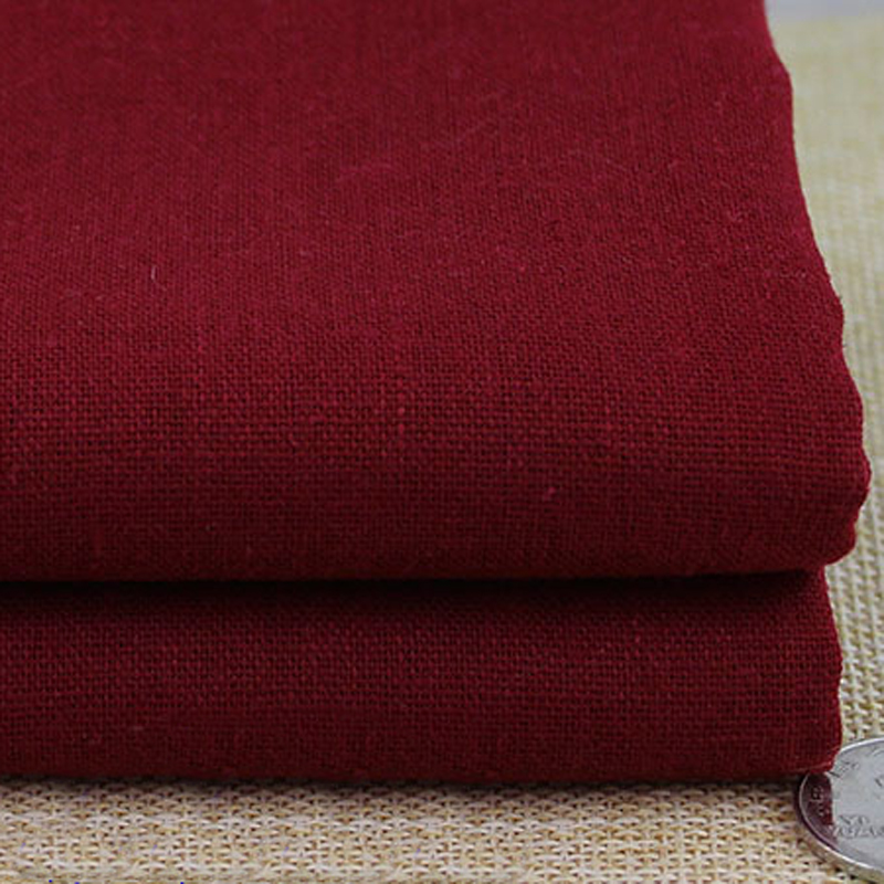 100cm*140cm burgundy fabric for dress skirt trousers sewing tissu solid cotton linen