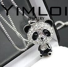$10 (mix order) Free Shipping Imitation Crystal Sweater Chain Necklace Cute Female Panda Jewelry N001 10g