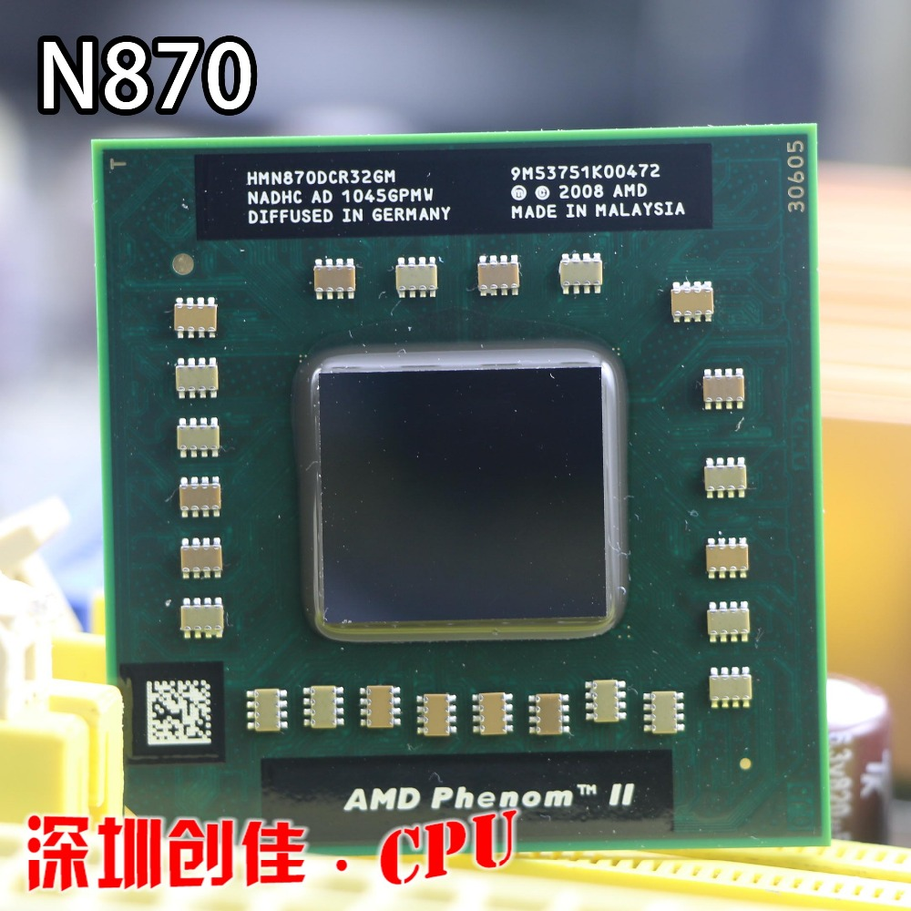 original AMD cpu laptop N870 HMN870DCR32GM CPU 1.5M Cache/2.3GHz/Socket S1 triple Core Laptop processor N 870 N-870