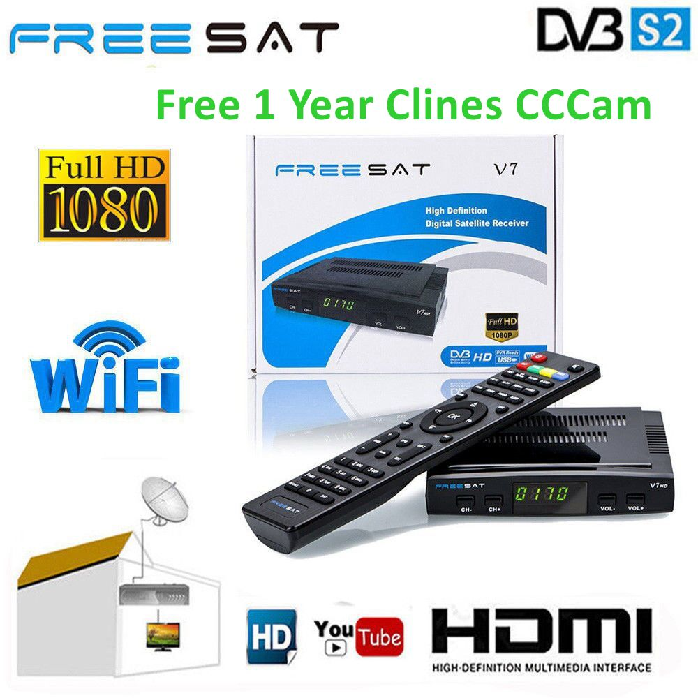 Freesat V7 HD Full HD DVB-S2 Satellite Receiver 1 Year Europe Cccam Cline PK Freesat V9 Super Upgrade From Freesat V8 Super NovaFreesat V7 HD Full HD DVB-S2 Satellite Receiver 1 Year Europe Cccam Cline PK Freesat V9 Super Upgrade From Freesat V8 Super Nova