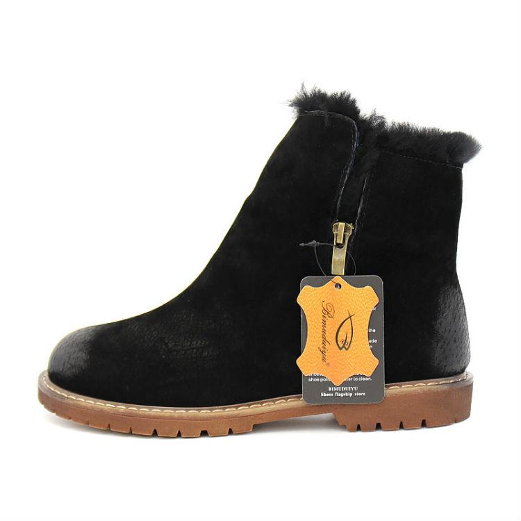 bimuduiyu женские зимние ботинки новое поступление зимние сапоги из натуральной кожи замши свиньи плюшевые кашемировые теплые ботильоны повседневные туфли на плоской подошве