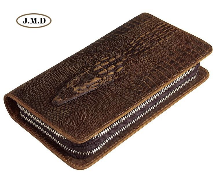 J.M.D Genuine Leather Fashion Design Wallet Crocodile Pattern Long Purse Men's New Style Business Card Holder Clutch Bag 8070R-1