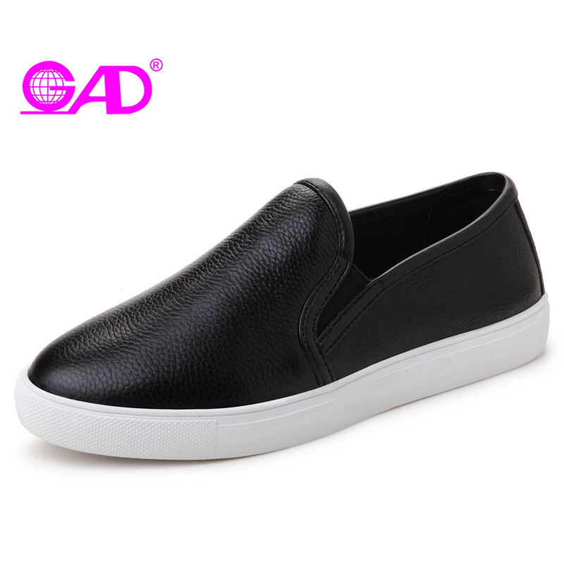 GAD Genuine Leather Women Loafers Spring/autumn New Style Round Toe Comfortable Women Driving Shoes Fashion Flat Shoes Women spring and autumn new women fashion shoes casual comfortable flat shoes women large size pure color shoes