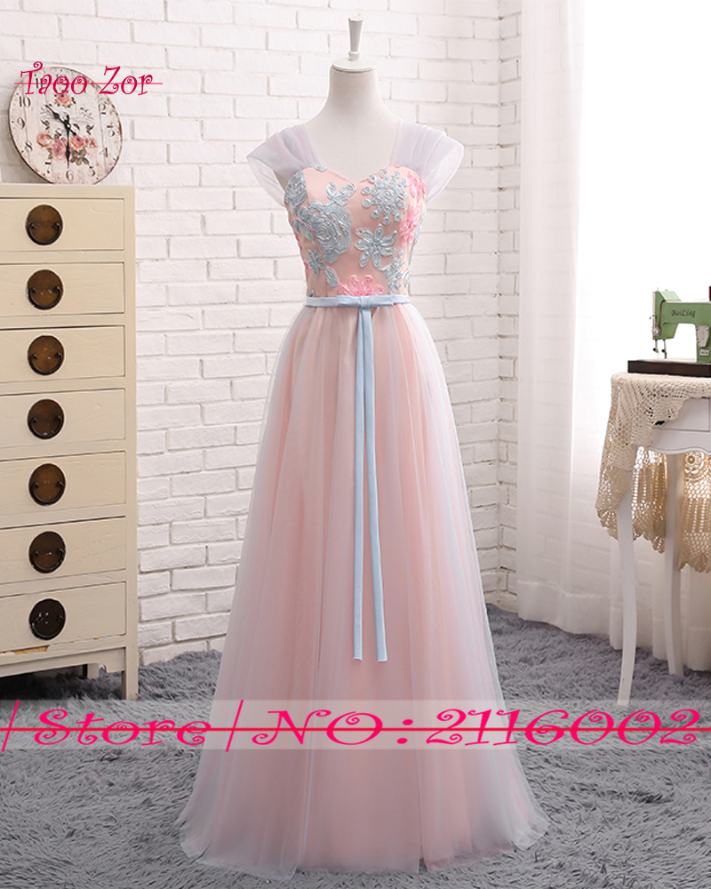 Taoo Zor Stylish Slim Embroidery Flower Long A line Bridesmaid Dresses 2017  Ribbons Sashes Tulle Hot Sale Formal Dress Plus Size-in Bridesmaid Dresses  from ... 0aa4d0e874c0
