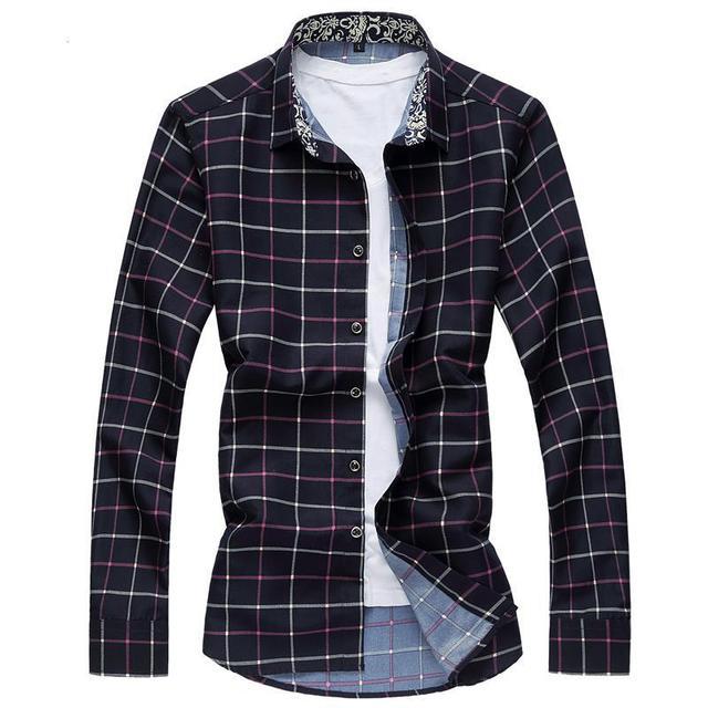 XXXXXXXL Camisas del Mens Slim Fit Hombre Plaid Camisa de Vestir Vestidos Chemise Homme camisa masculina Hombre Social en Smoking de Los Hombres camisas