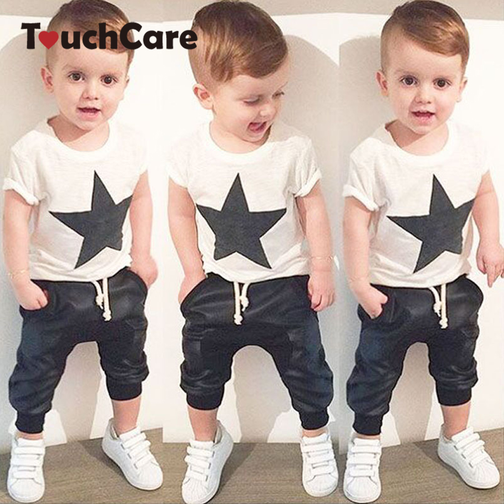 Clearance Star Print Baby Boy Clothing Set Newborn Cotton Short Sleeve T-shirt+Pants Suit Roupa Infant Summer Baby Kids Clothes  2016 autumn baby boy set cotton long sleeve print t shirt pants fashion baby boy clothes infant 3pcs suit hat lt01