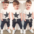 Star Printed Baby Boy Clothing Set Newborn Cotton Short Sleeve T-shirt+Pants Suit Roupa Infant Summer Baby Kids Clothes