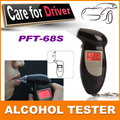 100% brand new abs material black color digital keychain breathalyzer/fit alcohol tester with red backlight pft68s
