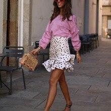 Стильная шикарная Асимметричная мини-юбка в горошек с рюшами Za, модные женские юбки, Повседневная Уличная одежда Jupe Femme