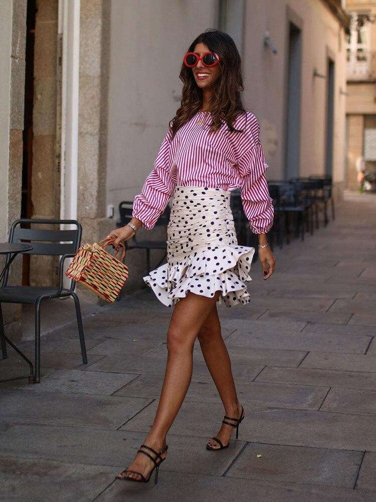 Élégant Chic à pois imprimé ruché asymétrique Mini Jupe Za 2019 mode femmes jupes décontracté Streetwear Jupe Femme