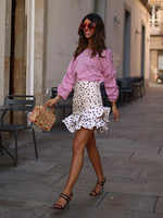Elegante chique polka dot impressão ruched assimétrico mini saia za 2019 moda feminina saias casual streetwear jupe femme