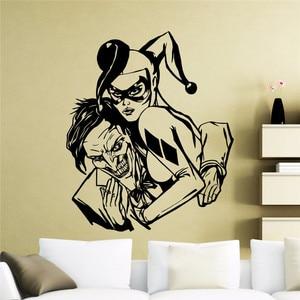 Виниловая наклейка Харли Квинн и Джокер, наклейка на стену в стиле комиксов Marvel, с супергероями, домашний интерьер, декор для подростковой к...