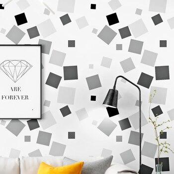 Papel pintado Cuadrado Negro Nórdico blanco gris para sala de estar Tv Fondo pared papel de pared abstracto