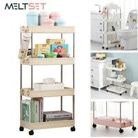 Estante organizador para almacenaje, soporte para 2, 3 y 4 niveles, estante lateral para la nevera, extraíble con ruedas, organizador para baño, ahorrador de espacio