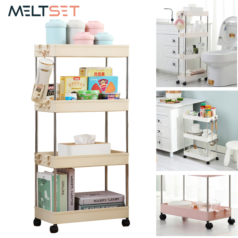 Bathroom:  2/3/4 Layer Gap Holder Kitchen Storage Rack Fridge Side Shelf Removable With Wheels Bathroom Organizer Space Saving Shelf - Martin's & Co
