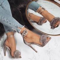Faux Fur Women Sandals High Heels Sexy Snakeskin Pattern Women High Heels Pumps 11cm Thin Heel Women Shoes 35 40 eur