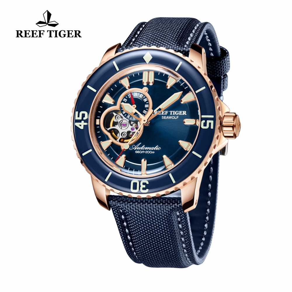 Reef Tiger/RT Luxury Dive Watches for Men Automatic Rose Gold Tone Blue Watches Nylon Strap RGA3039