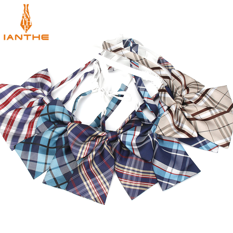 JK Bow Tie Plaid Uniform Collar Butterfly Cravat Japanese High School Girls Students Preppy Chic Free of Tying a Check Knot plaid