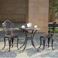 3-шт цельная литая алюминиевая Уличная Мебель Патио Обеденный набор один стол с 2 стульями для декора дома