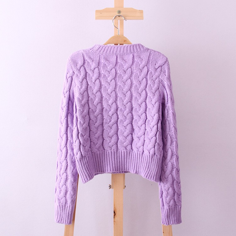 Retro Style Thick Line O-Neck Pullover Short Sweater Women Girl Spring 2016 (1)