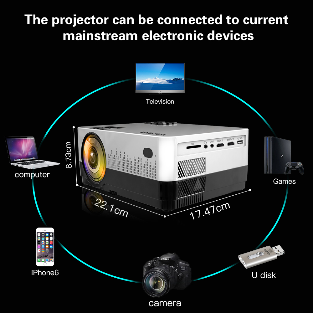 Image 3 - CRENOVA 2019 Newest Led Projector HD 1280*728P Android 6.1 OS 4300 Lumens Home Cinema Movie Projector With WIFI Bluetooth-in LCD Projectors from Consumer Electronics