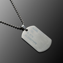 Stainless Steel Mens Necklace Stainless Steel Pendant Dog Tags Army Nameplate Me