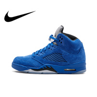 Official Original Nike Air Jordan 5 Retro Blue Suede Men's Basketball Shoes Breathable Medium Cut Professional Sneakers 136027