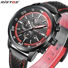 RISTOS Mens Relojes de Primeras Marcas de Lujo Reloj de Los Hombres de Negocios de Cuero Casual Reloj Del Deporte Militar Reloj de Pulsera de Reloj Del Relogio masculino