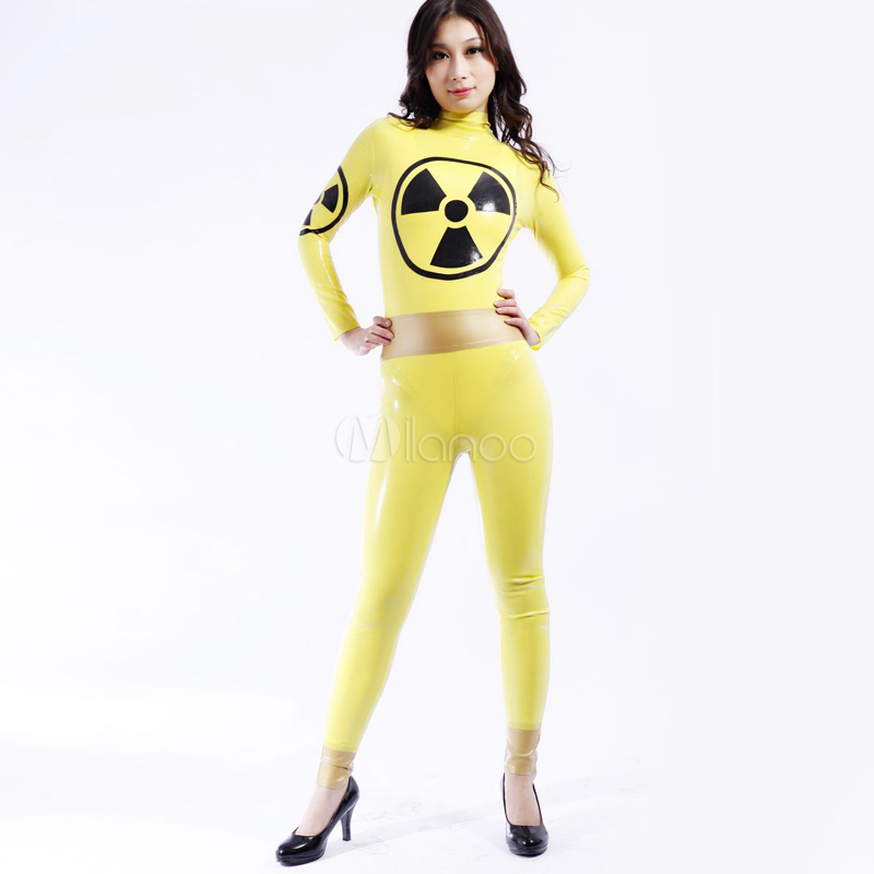 High Quality Adult Womens Sexy Yellow Catsuit Shiny Metallic Party Costume Female Latex Spandex Fullbody Cosplay Costumes Suit