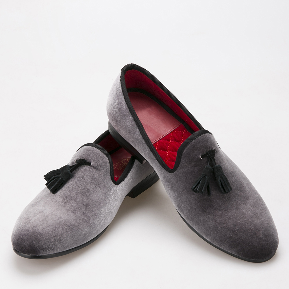 Style Handmade Loafers Gray Velvet Men Shoes With Black Suede Tassel Fashion Party Dress Shoes