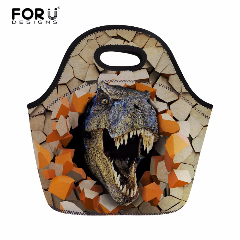 FORUDESIGNS Dinosaur Printed Insulated Thermal Lunch Bag Keep Warm Picnic Bag Meal Hand Bag Tote for Women Kids with Zipper