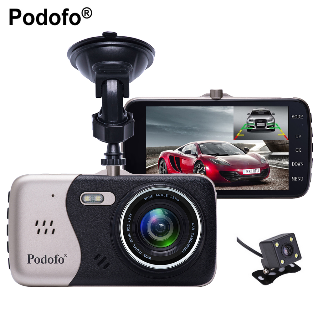 Podofo Double Objectif Novatek 96658 Voiture Caméra 4.0 Full HD 1080 P 170 Degrés Voiture DVR Dvr Enregistreur Avec Vue Arrière De Sauvegarde Caméra Dvr