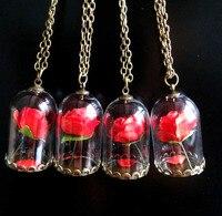 Chic Groothandel 10/20/50/100 stks Lady Retro Glazen Flacon Kettingen Hangers Schoonheid Natuurlijke Rose Rood bloem Prins Ketting Geschenken