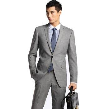 New Real Mens Light Grey Suits Jacket Pants Formal Dress Men Suit Set Wedding Groom Tuxedos Male Leisure (jacket+pants) C34