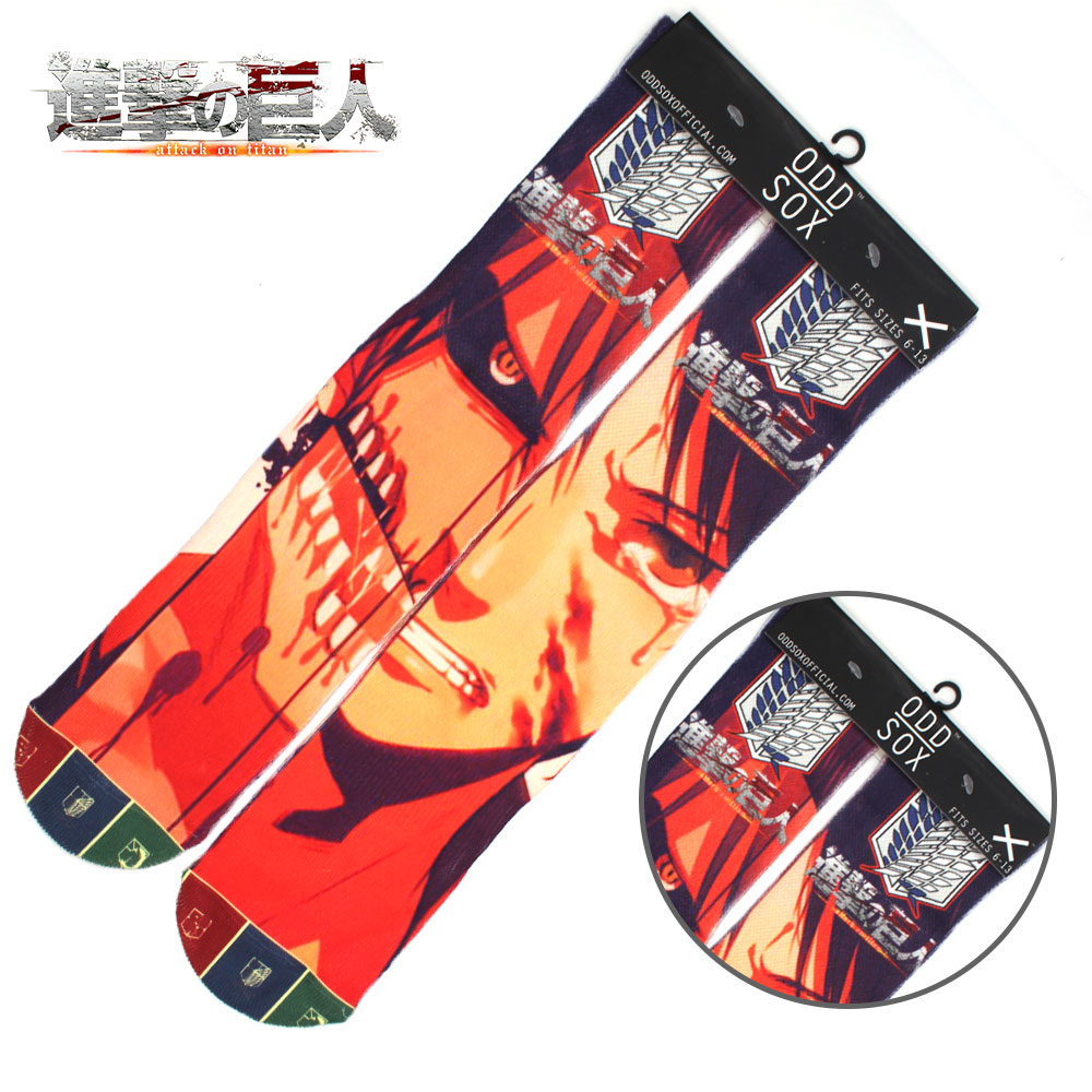 "4x16"" Anime Attack on Titan Eren Jaeger Yeager Cotton Socks Colorful Stockings Tights Cosplay Costume Unisex Fashion Gifts Cool"
