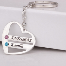 White Gold Plating for Crystal Jewelry Customized Keychain Heart Custom Names & Birthstones Drop Shipping YP3063