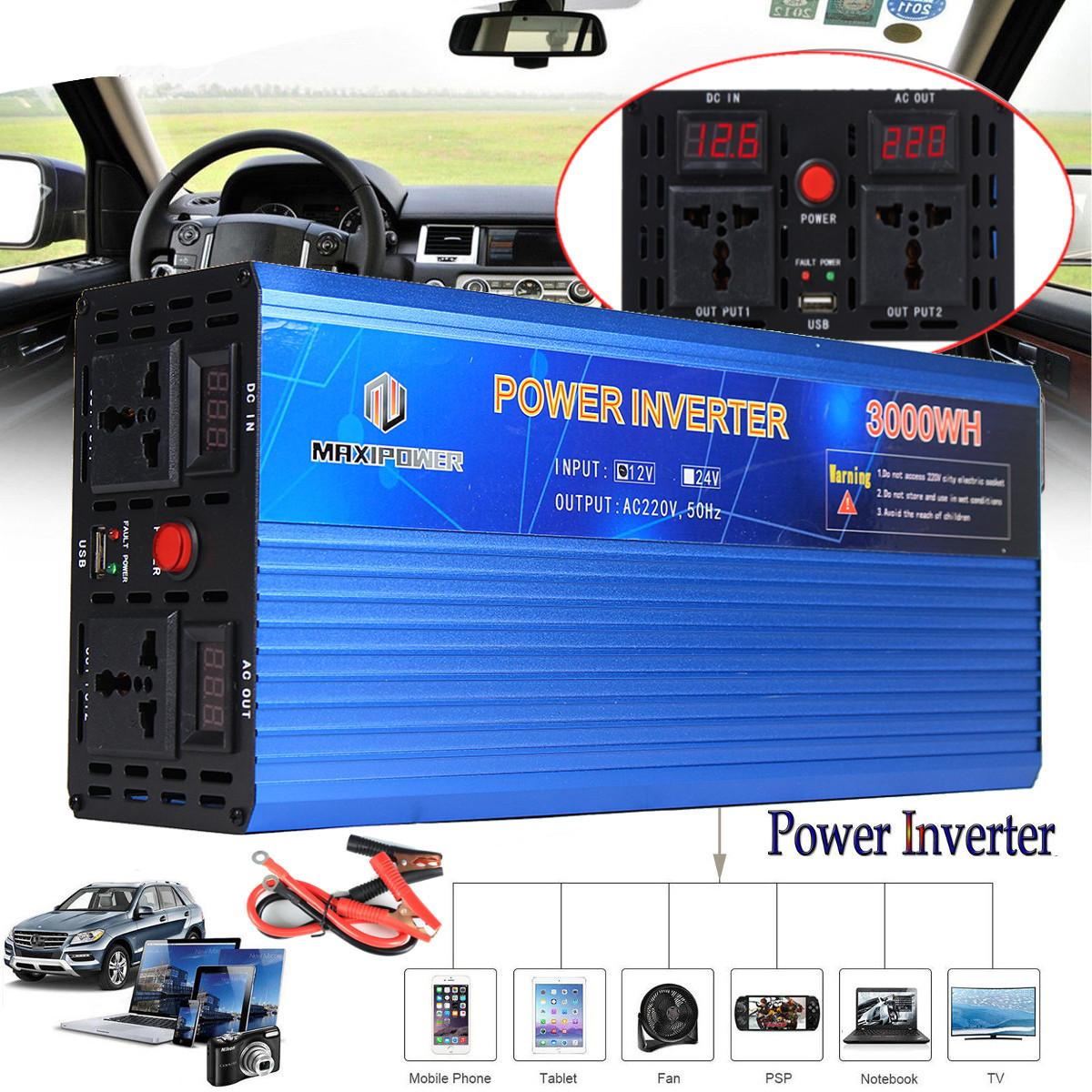 Car Inverter 12V 220V 3000W/4000W/5000W Inverter Modified sine wave Voltage transformer 12/220V Double LED digital display