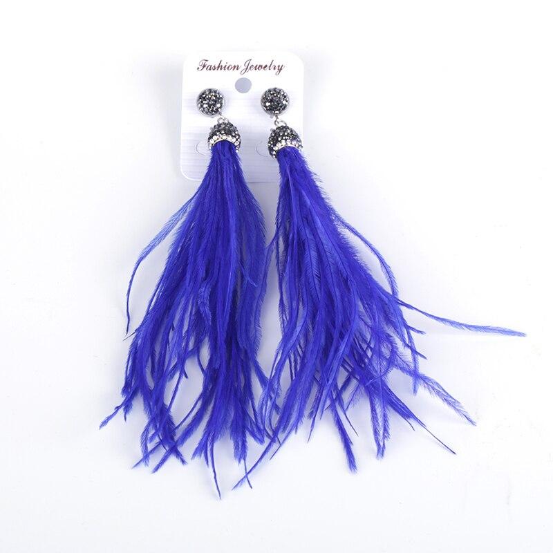 Мода темно-Королевский Синий Пух тонких волос перо шарма фианитами Кепки шпильки с длинными большой Длинные Висячие серьги для Для женщин