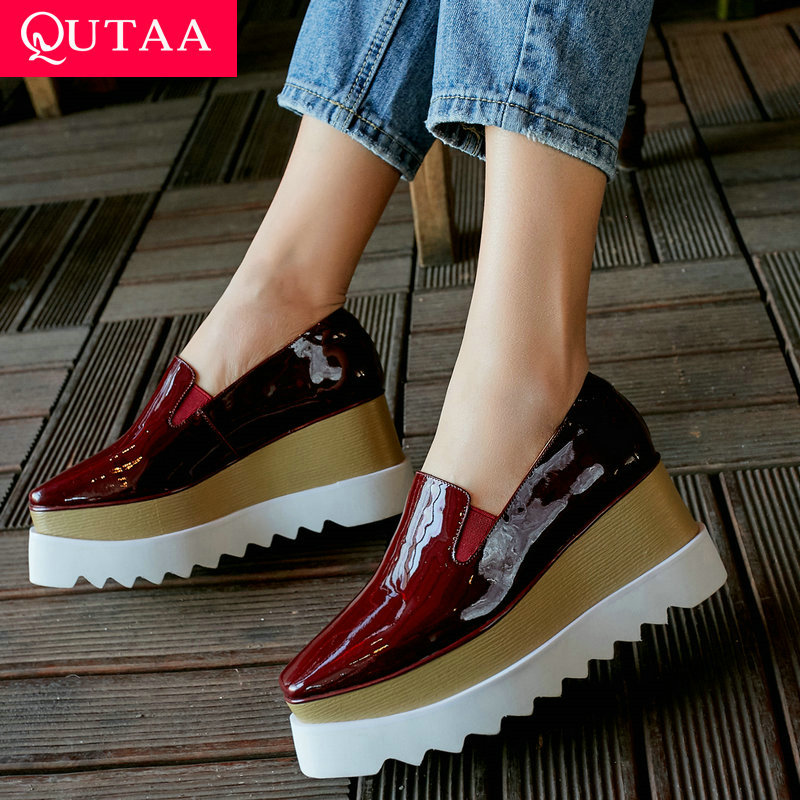 QUTAA 2020 New Fashion Women Shoes Platform All Match Slip on Wedges Heel Women Pumps Casual