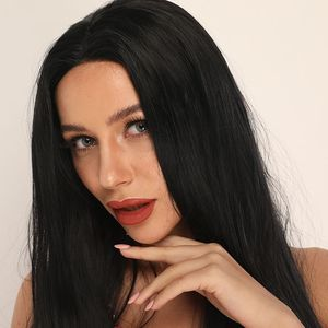 Image 2 - ANOGOL Long Straight Black Wig Synthetic Wig for Women Natural Middle Part Lace Wig Heat Resistant Fiber Wig for Women Daily Use