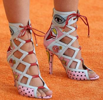2018 Newest Polka Dots Women Lace Up Ankle Boot Hot Club Shoes Stiletto Boots Mixed Colors Badge Ladies Peep Toe High Heel Boots