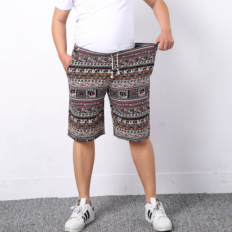 Summer Men's Beach Shorts Personality Printed Breathable Comfort Casual Male Linen Shorts Plus Size Bohemian Style Board Shorts