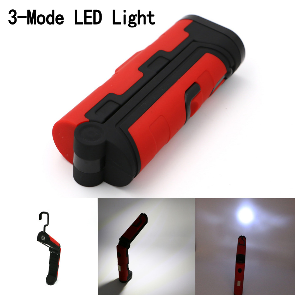 Portable 3 Mode COB LED Work Flashlight Light with Magnetic Folding Hook Hanging Torch For Camping