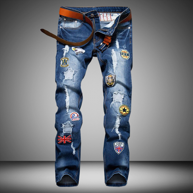 ФОТО Mens Fashion Badge Patchwork Stretch Ripped Jeans Homme Straight Slim Jeans For Men High Quality Cotton Denim Overalls Pants Men