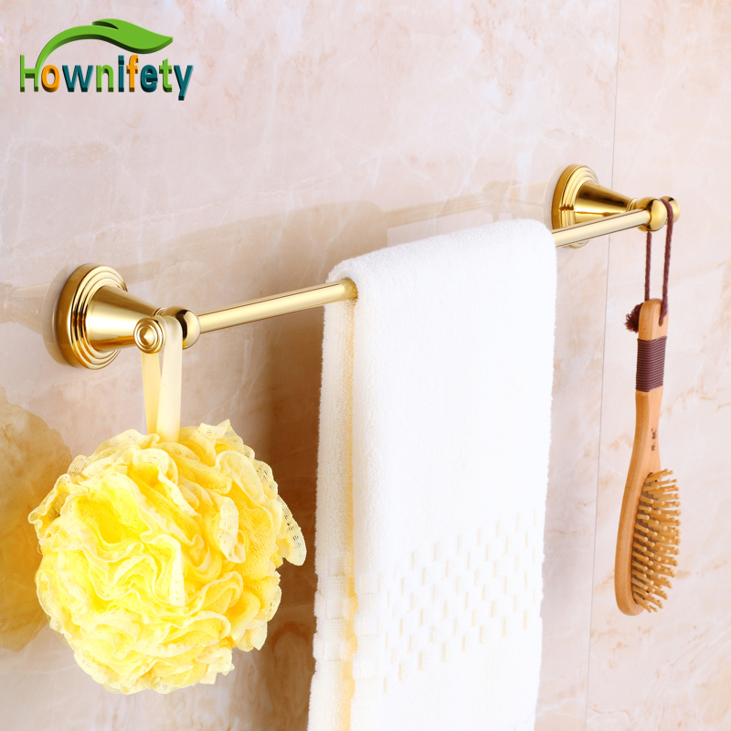 Luxury Gold  Finish Bath Single Towel Bar Wall Mount Towel Hanger Bathroom Accessory fixmee 50pcs white plastic invisible wall mount photo picture frame nail hook hanger