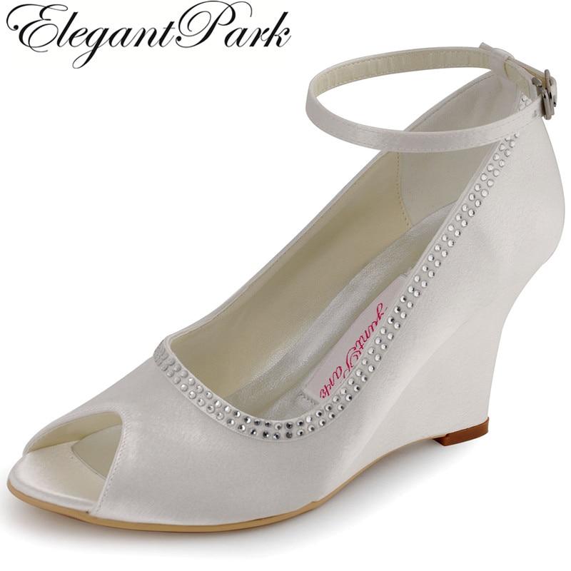 цена на Fashion Shoes A2071 Peep Toe Rhinestone Satin Women 3.5 Heels Wedges Shoes  Evening Party Wedding Bridal Pumps