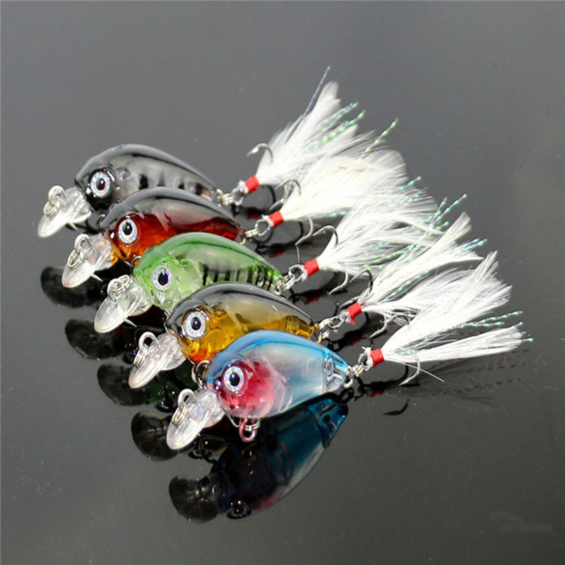5pcs 3.6cm Mini Transparent Plastic Fishing Lures Minnow Bait Crankbaits 3D Eye Artificial Lure Crystal Feathers With Hooks