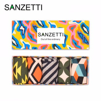 SANZETTI 5 pairs/lot With GIFT BOX Cotton Fashion Funny Men's Dress Socks Colorful Casual Tube Male Novelty Skateboard Socks