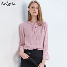 Onlyplus Chiffon Blouse Long Sleeve Embroidery Flower burning Loose Casual Pink Blouse Women Shirts Female Bow Autumn Blusa